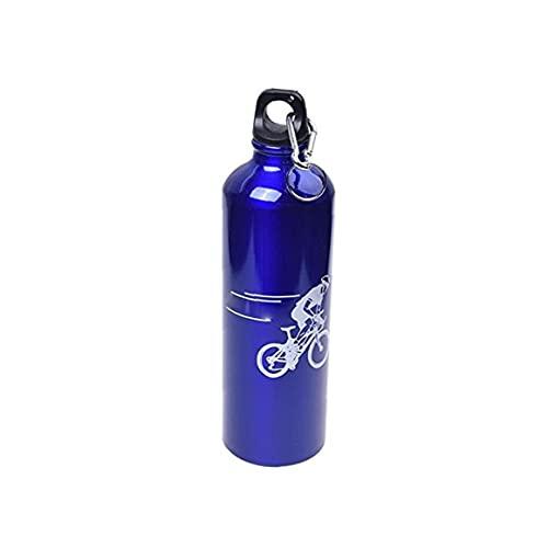 EElabper Botella De Montaña Bici De Agua Caldera De La Botella De Aluminio De Aleación De Deportes Acuáticos De Montar a Caballo De La Caldera con Mosquetón Azul