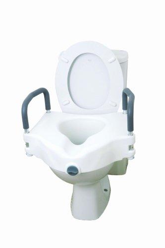Drive Medical 12027RA 2-in-1 toiletbrilverhoger, toiletopzetstuk met afneembare leuningen