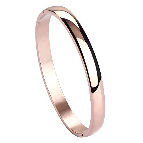 MILAKOO Damen 6mm Edelstahl Armband glatt poliert Finish Oval Armreif Roségold