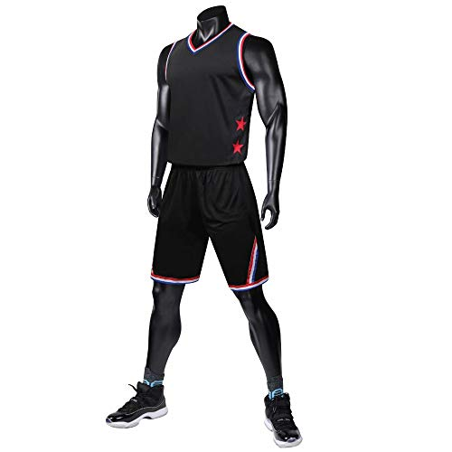 WRPN Männer Basketball Trikots, Schwarze Basketball-Set, Sport Basketball Trikots Trainingsanzug, Geeignet Für College-Studenten/männer/Jugend 4XL schwarz