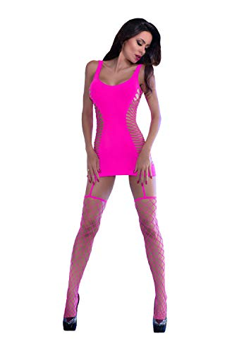 Chilirose Damen Nahtloses Minikleid mit Strümpfen M420 S/M