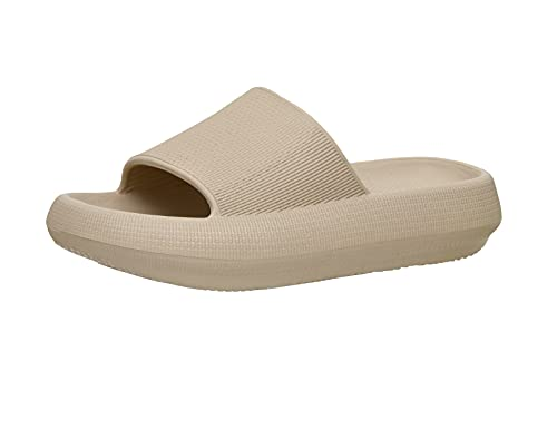Cushionaire Women's Feather recovery cloud slide sandal with +Comfort, Khaki 11
