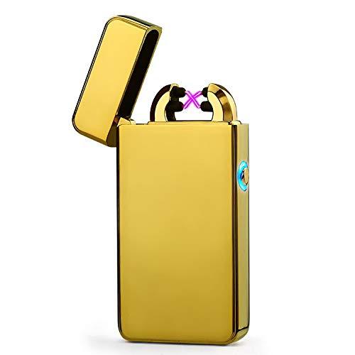 EDAH® USB-aansteker met dubbele boog, elektrisch, met blauw LED-licht, snel opladen, windbestendig, zonder vlam, USB-kabel en geschenkdoos inbegrepen.