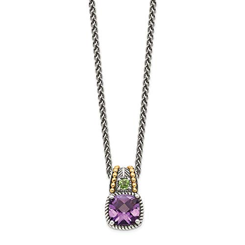Sterling Silver and 14k Yellow Gold Amethyst and Peridot Necklace, 18'