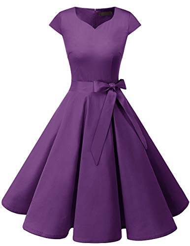 Dresstells Damen Vintage 50er Cap Sleeves Rockabilly Swing Kleider Retro Hepburn Stil Cocktailkleid Purple S
