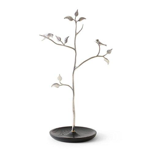 SHIROKANE/木と小鳥のアクセサリースタンド ケヤキ 黒色