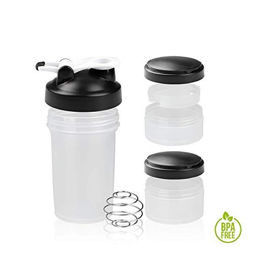 Shaker Gym Bottle | Coctelera para batidos de proteínas con doble compartimento | Sport Protein Mixer Cup sin BPA | Botella mezcladora para gimnasio de boca ancha y con anilla para colgar