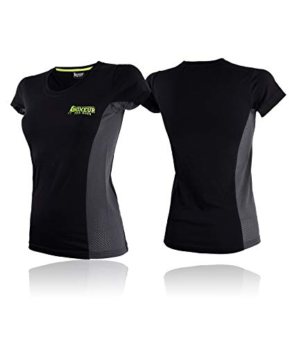 BOXEUR DES RUES Serie Fight Activewear, T-Shirt Aderente in Seamless Donna, Nero, S