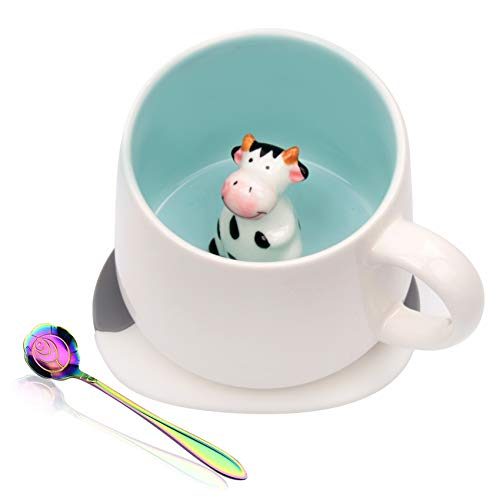 Ozazuco Cute 3D Cow Inside Coffee Mug Tea Cup, Funny Handmade White Ceramic Coffee Cup with Coaster and Spoon, Coffee Mug Perfect Gifts for Friends Roommate Family or Kids