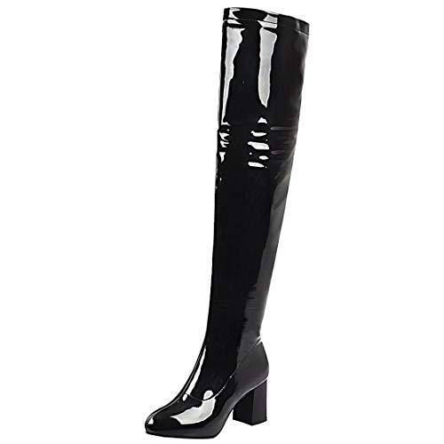 JYANG Overknee Stiefel Blockabsatz Lackstiefel High Heels Langschaft Boots Damen mit Reisverschlus Schwarz 34 EU