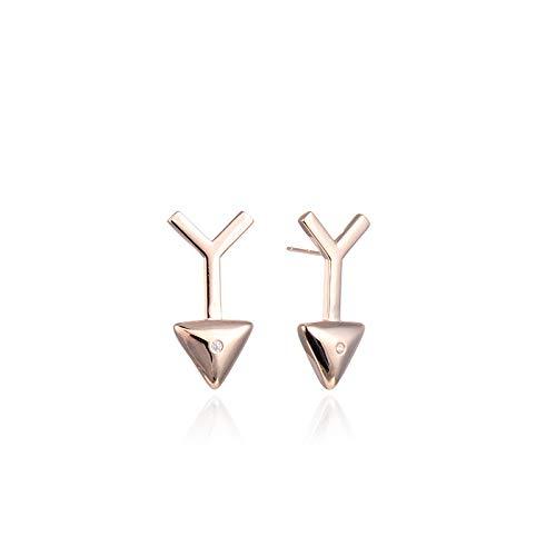 Simple Retro Triangle Earrings S925 Silver Diamond Rose Gold Arrow Earrings for Women