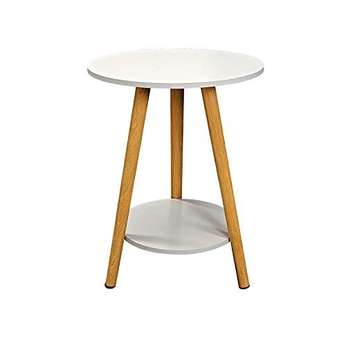 TTIO Mesa auxiliar de café con anidación, mesa de café redonda, decoración moderna para el hogar, mesa auxiliar de té para sala de estar, dormitorio (blanco, 20 x 20 x 15.3) '