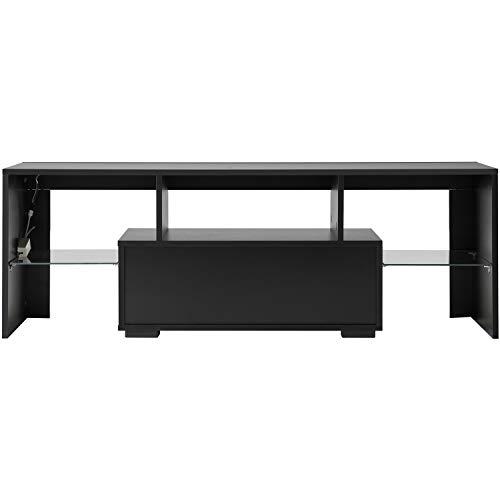 Leisure Zone TV-Schrank, moderner TV-Schrank in schwarz matt und schwarz Hochglanz für Wohnzimmer mit LED-Leuchten (schwarz)