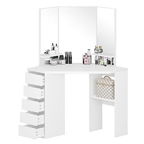 White Corner Dressing Table with 3 Mirror 5 Drawers Vanity Table Makeup Desk for Girls Bedroom Dresser Furniture