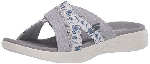 Skechers Women's ON-The-GO 600-140038 Slide Sandal, White/Gray, 9 Medium US