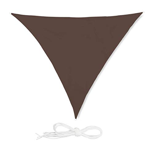 relaxdays Voile d'ombrage Triangle diffuseur Ombre Protection Soleil Balcon Jardin UV Toile imperméable 3x3x3 m, Marron