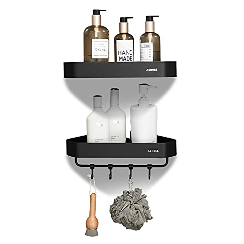 2Pack Rust Proof Corner Shower Caddy, Shower Shelf Wall Mounted, Adhesive Shower Organizer With Hooks, No Drilling Shower Caddies, Storage Rack for Bathroom Shower and Kitchen -Black