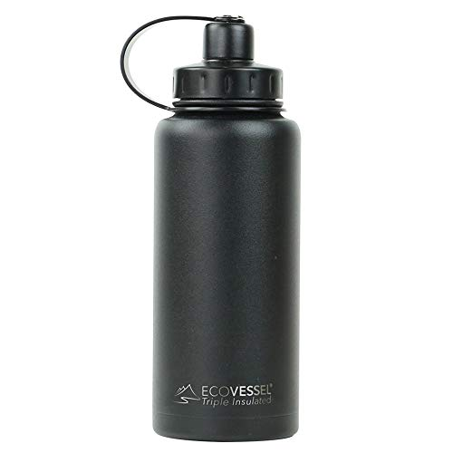 EcoVessel Boulder TriMax Vacuum Insulated Stainless Steel Water Bottle with Versatile Stainless Steel Top and Tea, Fruit, Ice Strainer - 32 Ounce - Black Shadow