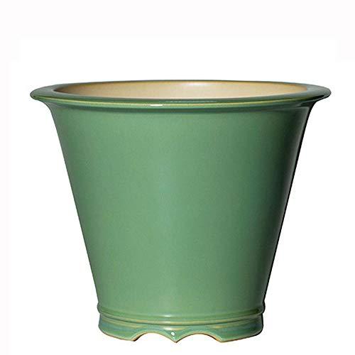 YLE Green Ceramic Garden Pots with Drain Hole Handmade Planting Pots for Indoor Plants for Scindapsus Aureum and Ivy Vine Ø 22 cm x H 16.5 cm