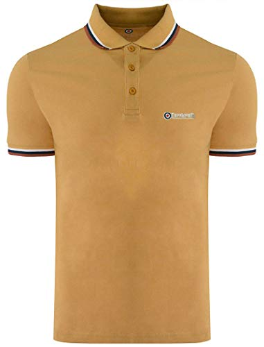 Lambretta Polo-Shirts, klassisch, Retro, Twin Tip, SS1608, Herren 2018 (UK 3XL, Biscuit/Weiß/Marineblau/Arabian Spice)