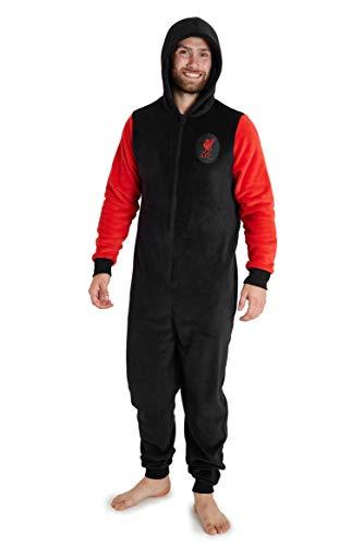 Liverpool F.C. Pijama Hombre de Una Pieza, Pijama Hombre Invierno Entero con Capucha, Pijama Mono Forro Polar, Regalos para Hombres y Adolescentes Talla M-3XL (L, Negro)