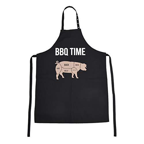 BBQ Time Schürze, Grillschürze für Männer und Frauen, Kochschürze mit verstellbarem Nackenband, Küchenschürze BBQ TIME: Schwein, Farbe: Schwarz mit farbigem Aufdruck