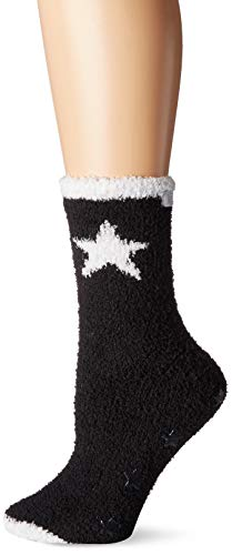 Karen Neuburger Women's Super Soft Cozy Fluffy Warm Lounge Sock with Grippers, black with white star, One size fits all