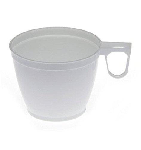 Gastro-Bedarf-Gutheil 1200 Kaffeebecher Einweg Kaffeetassen Plastik mit Henkel Weiß