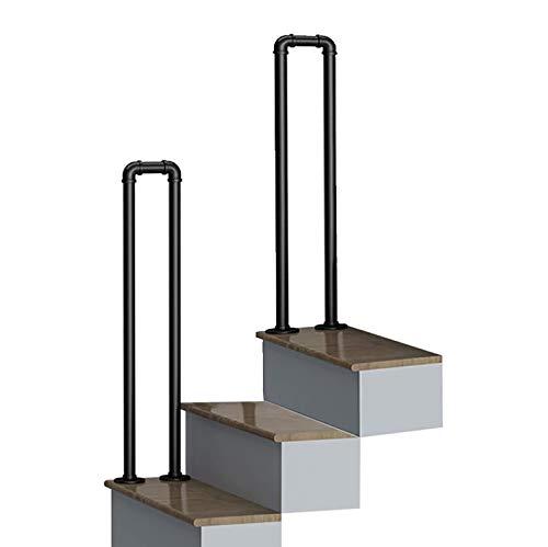 Barandilla De Escalera De Hierro Forjado En Forma De U, Barandilla De Soporte De Barandilla De Escalera Antideslizante, Barra De Soporte De Pasillo Tipo Loft, Negro, 1 Paquete (Size : 85cm)