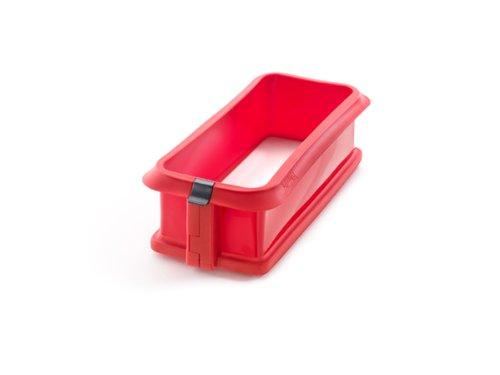 Lékué - Molde Duo rectangular desmontable, pastel 24 cm y plato cerámica, color rojo