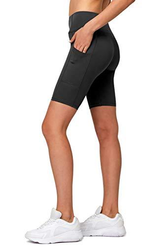 Short de Cycliste Femme avec Poche Latérale 1/2 Legging Sport Haute Elasticité pour Course Gym Yoga Fitness Noir Small