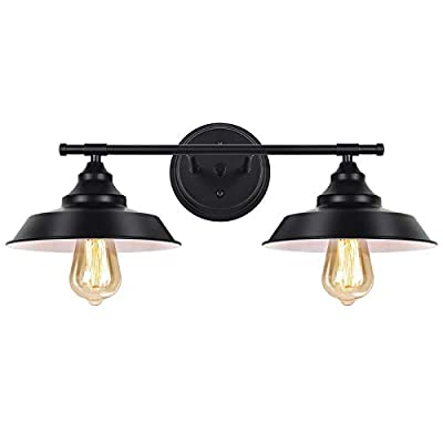 HAITRAL Black Bathroom Light Fixture-Vanity Light Black with 2-Light Farmhouse Sconce, Industrial Wall Light Fixture for Bathroom Kitchen Farmhouse Living Room Indoor-Black(Without Bulb)