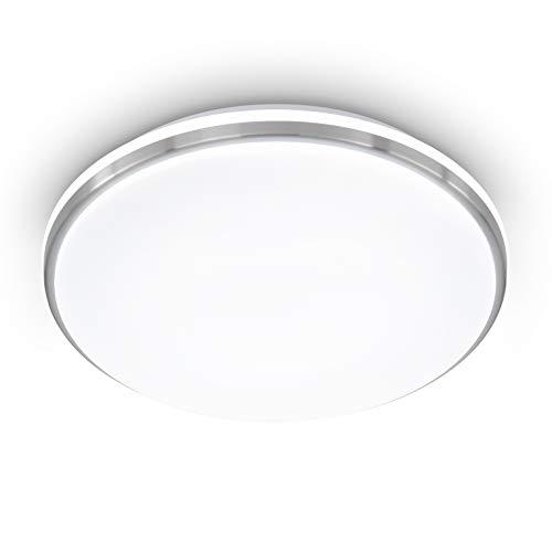 EGLO LED Deckenleuchte Marunella, Wandlampe Ø 34 cm in Stufen dimmbar, Deckenlampe Modern aus Stahl in Nickel-Matt und Kunststoff Weiß, Wohnzimmerlampe neutralweiß