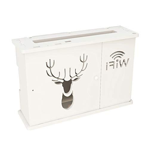 Kreative Multimedia Box Cover Box-Wand-Set-Top-Box Rack-TV-Wand WiFi Wireless Router Storage Box Eco-Friendly WPC Weiß Dekorative Regal