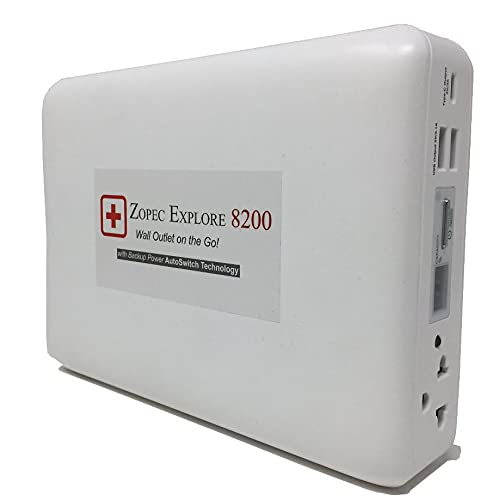 Zopec Explore 8200 Travel CPAP Battery (288 Wh) Up to 4 Nights! Super Small and Light Weight. Car Charger Included! Works with All Machine. No Adapter Needed! Perfect for Camping and RV Trips!