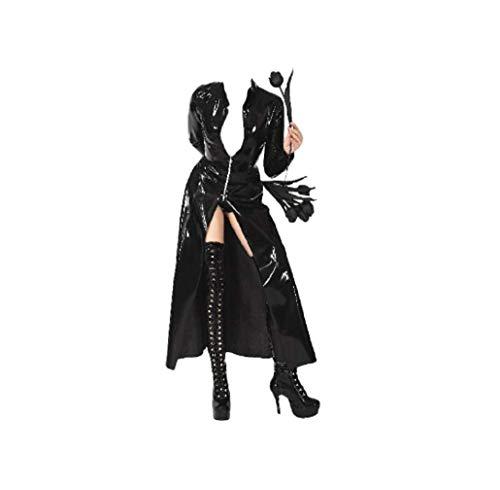 Nieuwe vrouwen stijlen zwart kunstleer PVC lange gothic mantel avondjurk