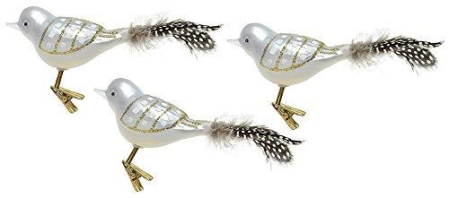 zeitzone Christbaumvögel mit Federschwanz Weiß Piepvögelchen Echt Glas 3 Stück