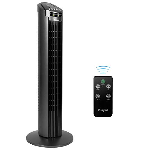 Kuyal Cooling Tower Fan, 3-Speed 3-Wind Mode 70? Rotation Oscillating 29'' Quiet Tower Fan with 7.5h Timer and Remote Control,45w
