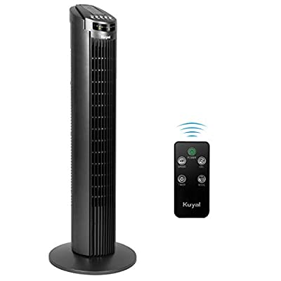 Kuyal Cooling Tower Fan, 3-Speed 3-Wind Mode 70° Rotation Oscillating 29'' Quiet Tower Fan with 7.5h Timer and Remote Control,45w
