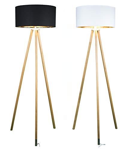 FITZ & ROY AKTION Premium Dreibein Holz Stehlampe hergestellt in Österreich, edles Kirschholz – geölt, E27, Fußtaster - Farbe schwarz