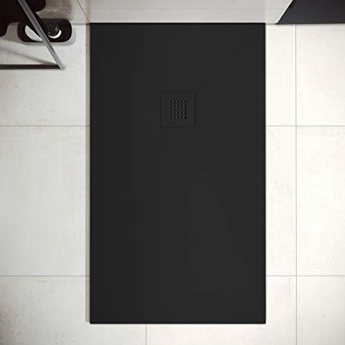 Plato de Ducha de Resina Mineral - Textura Pizarra,Antideslizante y Antibacteriano - Acabado Mate - Incluye Sifón y Rejilla (70x170 cm, Negro)