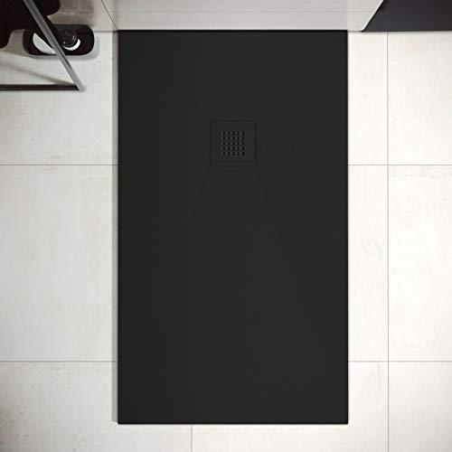 Plato de Ducha de Resina Mineral - Textura Pizarra,Antideslizante y Antibacteriano - Acabado Mate - Incluye Sifón y Rejilla (80x140 cm, Negro)