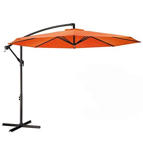 MEWAY 10ft Outdoor Umbrella Backyard Umbrella Deck Umbrella Cantilever Patio Umbrella with Crank & Cross Base, Easy to Instal