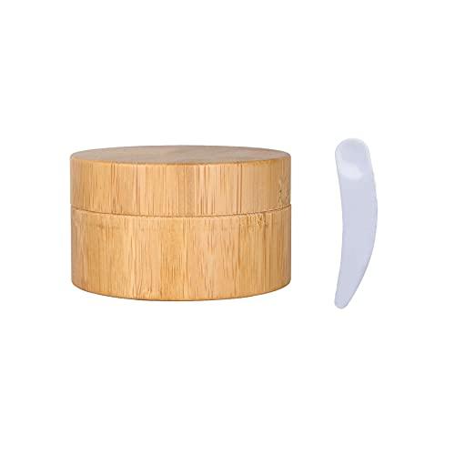 TIANZD 1 Pieza 50ml Envases Cosmética Bambú 50g Tarro deCosmética de Bambú con PP Plástico Interior Pote de Crema de Bambú para Cremas Hidratantes Loción Ungüento