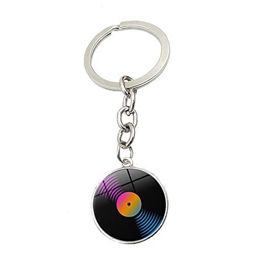 MINTUAN Gramófono retro con disco de vinilo, llavero con cabujón de cristal, máquina de grabación, hombres, mujeres, reloj, bolsa, colgante, llavero, regalo de viaje