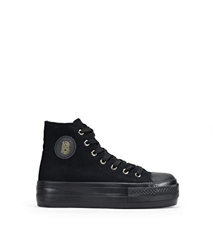 BOSANOVA Zapatillas Blancas Abotinadas de Tela Negro 39