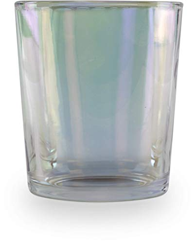 Circleware Radiance Set of 4 Whiskey Glasses Double Old Fashioned 12.5 oz, Drinking Glassware for Water, Juice, Ice Tea, Beer, Wine Bar Barrel Liquor Dining Beverage Gifts, 4pc DOF, White Pearl