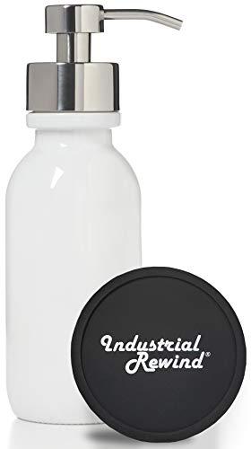 Industrial Rewind Seifenspender mit Metallpumpe, mit rutschfester Unterseite und Thekenschutz, Weiß, Chrom, 473 ml