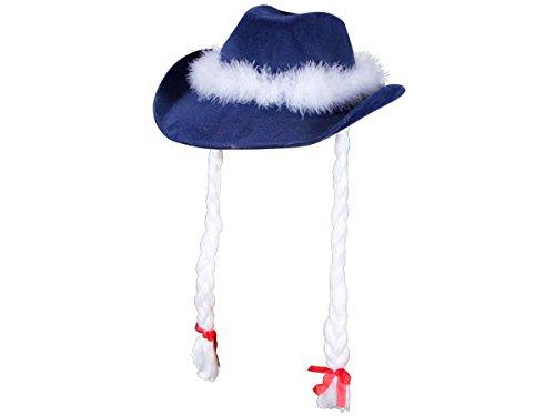 Chapeau cowboy bleu avec nattes blanches taille unique pour adulte de très haute qualité (wm-26) lux très classe l'accessoire festif idéal pour les fêtes de fin d'année pour se déguiser ou marquer l'événement pour noel alternatif du bonnet père mère Noël pour femme ou homme En feutre avec bande de fourrure qui fait le tour du chapeau