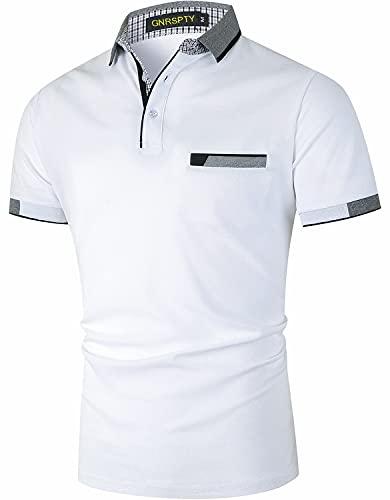 GNRSPTY Polo Uomo Manica Corta Cotone con Tasca Reale Casual Maglia Elegante Golf Tennis Camicia Colore delle Cuciture Magliette,Bianco,XL